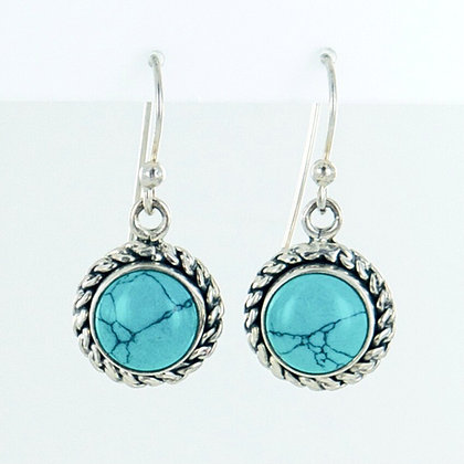 Turquoise silver short earrings