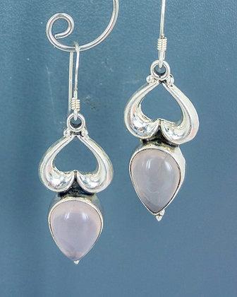 Rose quartz silver heart earrings