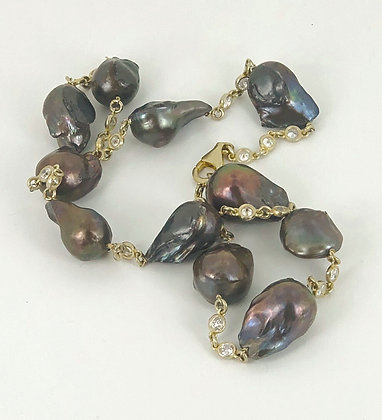 Black Baroque Pearls with gold vermeil and crystals