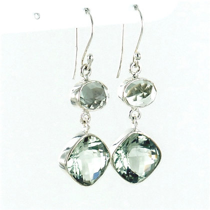 Green amethyst silver short earrings