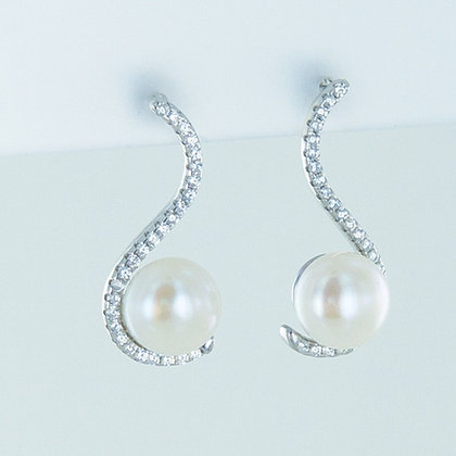 Pearl silver cz curve earrings
