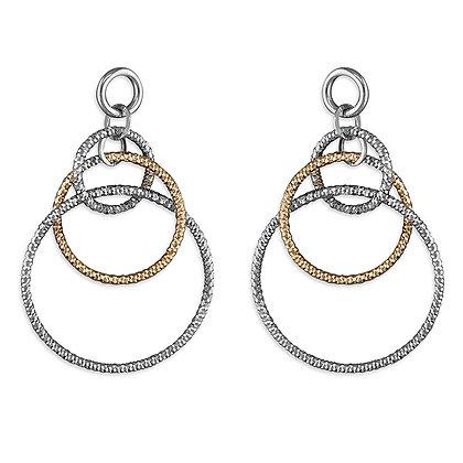 Silver gold rose ring long earrings