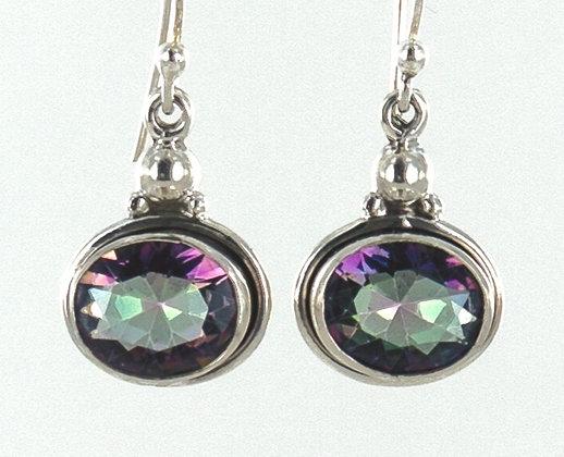 Mystic topaz silver short earrings