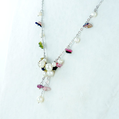 Pearl agate silver necklace