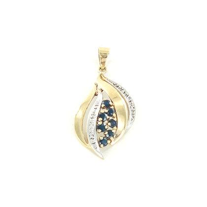 9ct yellow and white gold sapphire diamond pendant
