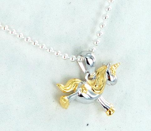 Two tone cute unicorn pendant