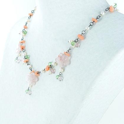 Floral rose quartz multi gemstone necklace