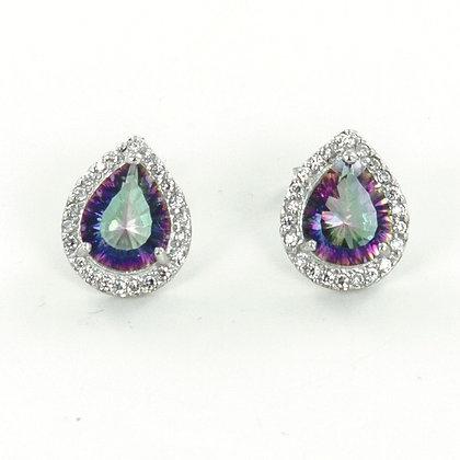 Mystic topaz teardrop cz silver stud  earrings