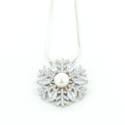 Snowflake silver cz pearl pendant with chain