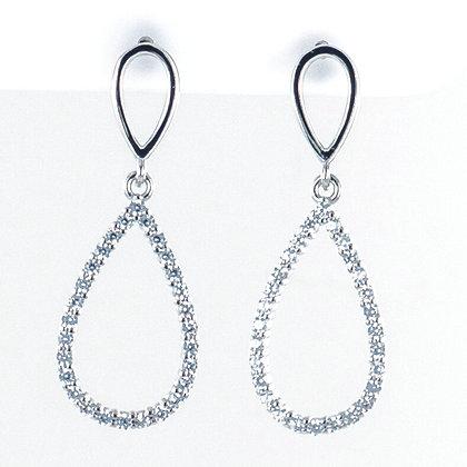 Silver teardrop short drop earrings