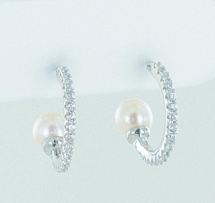 Semi hoop silver cz pearl earrings