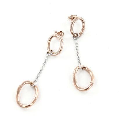Silver rose gold oval chain long earrings