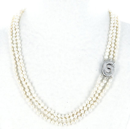 White pearl 3 strand necklace