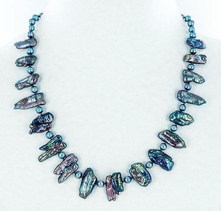 Black biwa pearl necklace