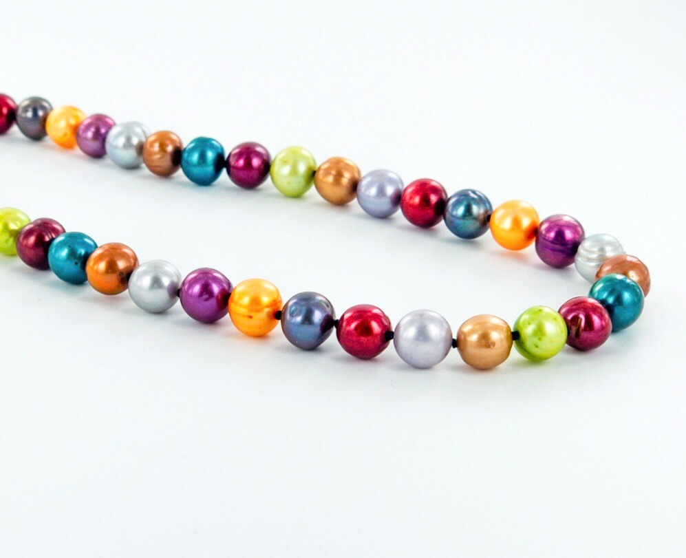 Rainbow coloured pearl necklace