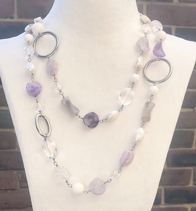 Long amethyst, pearl and silver necklace