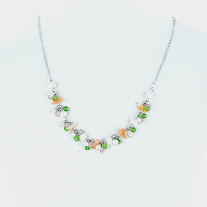 Pearl peridot coral necklace