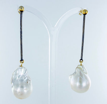 Long baroque pearl earrings