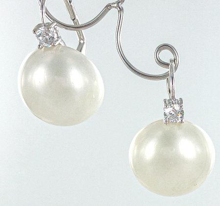 Shell pearl cz earrings