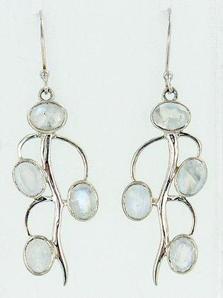 Moonstone silver stem earrings