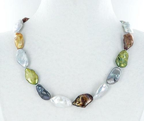 Multi colour baroque pearl necklace