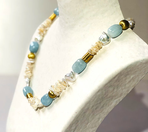 White cultured keshi pearl with amazonite necklace