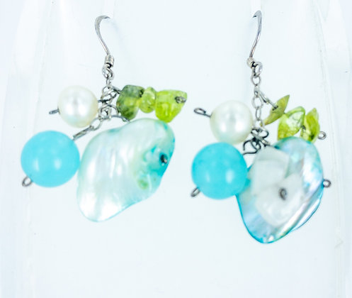 Blue mixed gemstones and cultured freshwater white pearl earrings