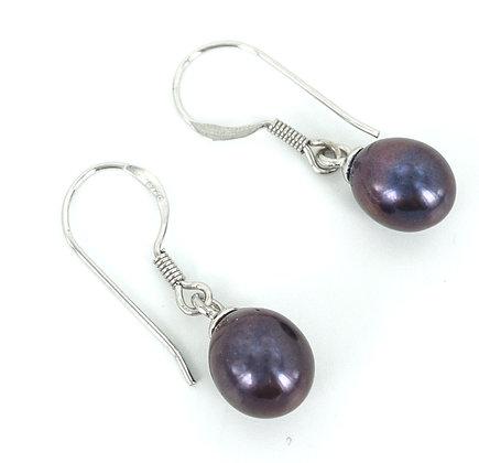 Dangly black pearl sterling silver earrings