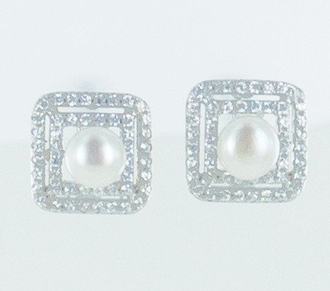 Square cz pearl stud earrings
