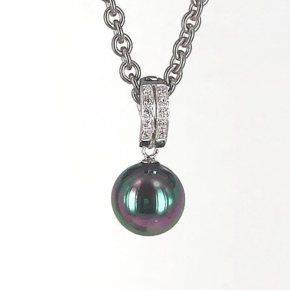 Dark peacock tones pearl shell pendant enhancer with sterling silver and cz
