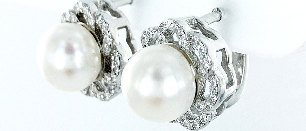 Pearl cz surround stud earrings