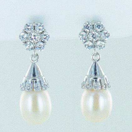 Pearl silver floral short drop earrings