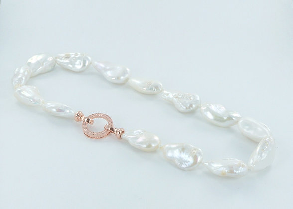 White Keshi pearl necklace with rose gold cz clasp