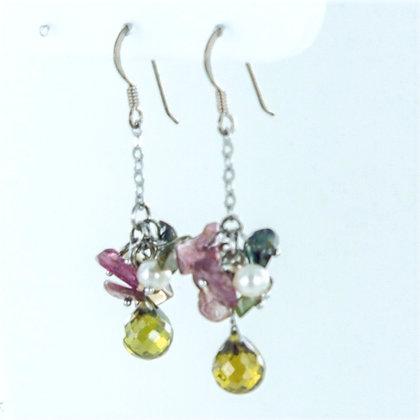 Pearl and agate gemstone earrings