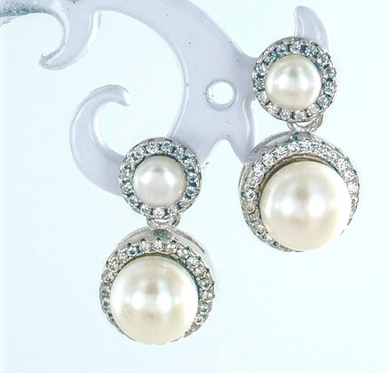 Pearl sterling silver cubic zirconia earrings