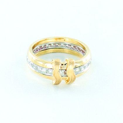 9ct yellow gold diamond wave eternity ring