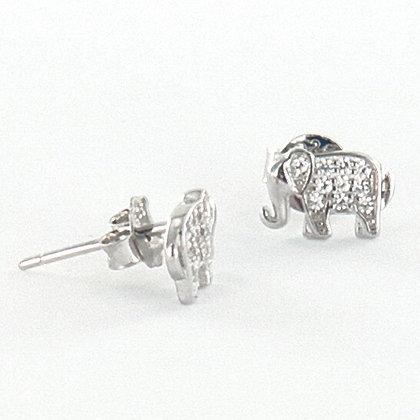 Silver cubic zirconia elephant stud earrings