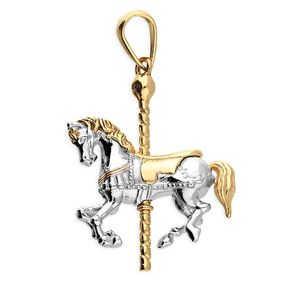 Two tone carousel horse pendant