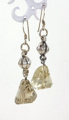 Citrine sterling silver ball earrings