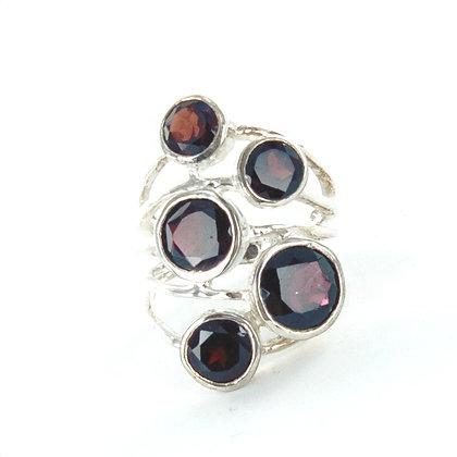 Red garnet silver ring