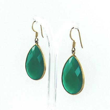 Green onyx teardrop gold earrings
