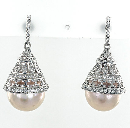 Pink pearl silver cone short earrings
