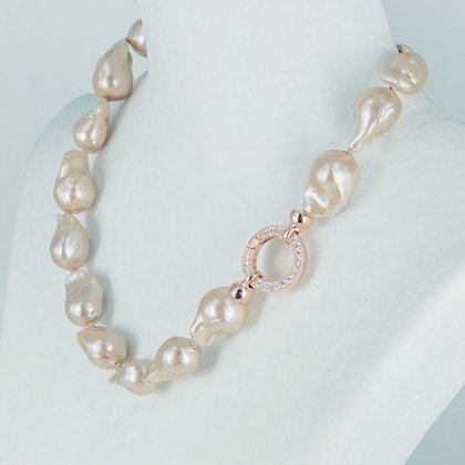 Champagne keshi pearl necklace rose gold cz clasp