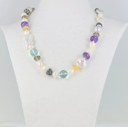 Pearl and multi gemstone necklace