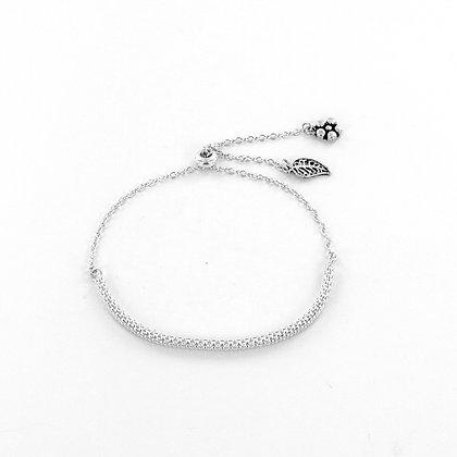 Silver hanging leaf and flower adjustable bracelet
