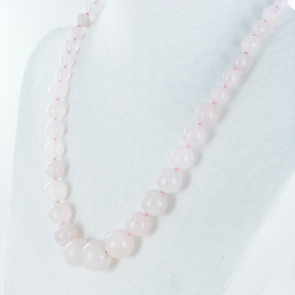 Pale pink rose quartz necklace