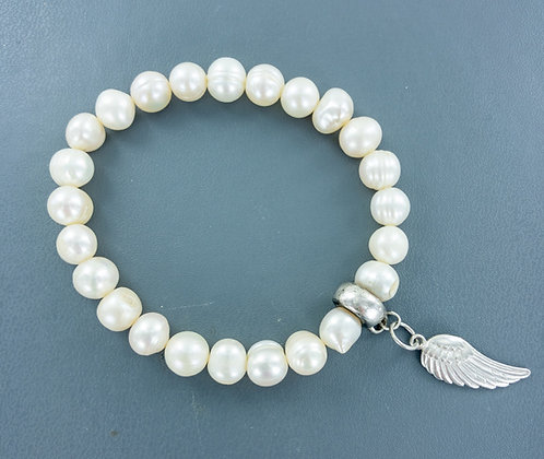 Cultured white pearl with sterling silver angel wing charm bracelet