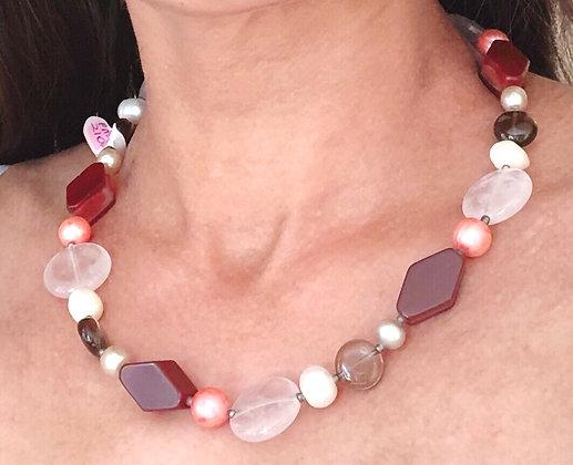 Carnelian, rose quartz, smoky quartz and pearl necklace