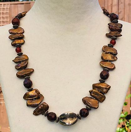 Brown biwa pearl necklace