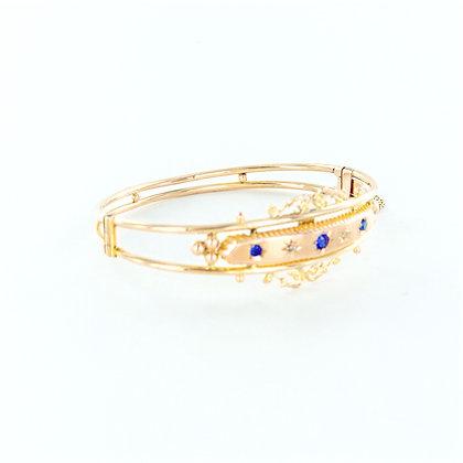 9ct yellow gold sapphire diamond bangle